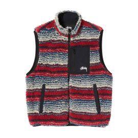 Striped Sherpa Vest S/S Sweatshirt